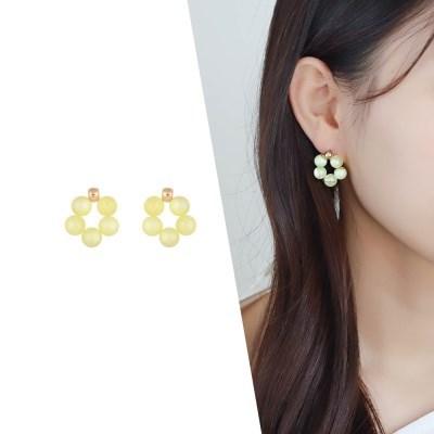 [라이트썸머] 비즈 플라워 귀걸이_옐로우(AGIE0519HBJY)