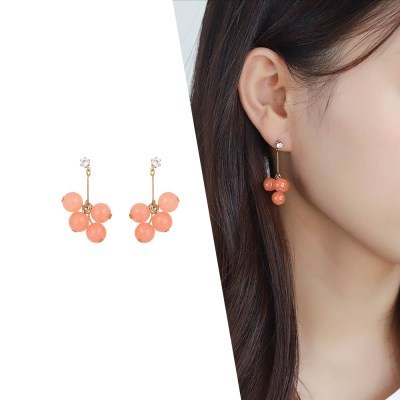 [라이트썸머] 체리 방울 귀걸이_코랄(AGID0502HBJP)