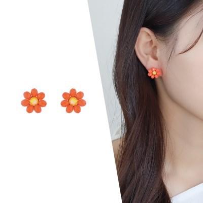[라이트썸머] 미니 비즈 플라워 귀걸이_오렌지(AGIS0512HBJO)