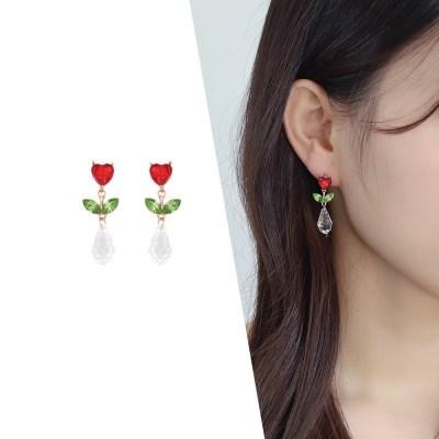 [라이트썸머] 튤립 플라워 드롭 비즈 귀걸이_레드(AGID0412HBPD)