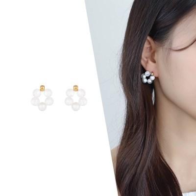 [라이트썸머] 비즈 구슬 귀걸이_화이트(AGIE0519HBJW)