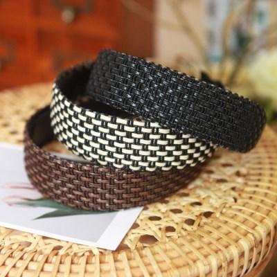 3.5cm와이드 라탄머리띠 넓은 여행룩 비치룩 여름 헤어밴드