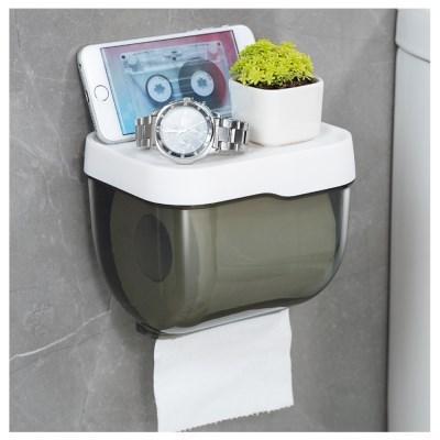 무타공 접착식 반투명 화장실 휴지걸이 소형 사각티슈 욕실 케이스