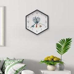 월아트 헥사곤 벽시계(사랑나무) 거실 벽걸이시계