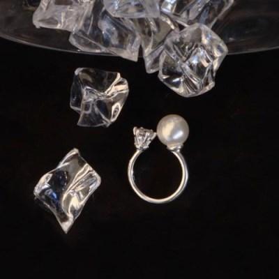 [silver 925] 두꺼운 실버 큐빅 진주 프리사이즈 오픈링 반지