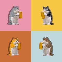 청년토이 한잔하냥 고양이 피규어 4종세트