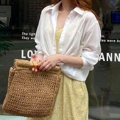 여자 여름 생일파티룩 시원한 파티 핀턱 시스루 셔츠