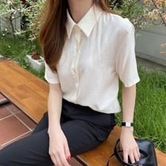 여자 여름 카라 파스텔톤 단정한 하객룩 실키 슬리브 셔츠