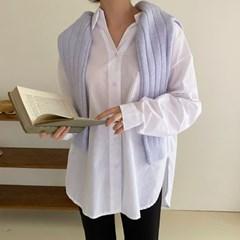 여자 여름 면접룩 회사원 하객 깔끔한 반오픈 언발 셔츠