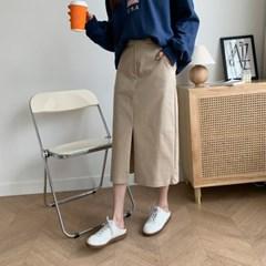 여자 여름 베이직한 미니멀 코튼H라인 롱스커트