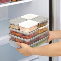 씨밀렉스 납작한 소분 냉장 냉동 보관용기 (소8EA+중4EA+트레이)