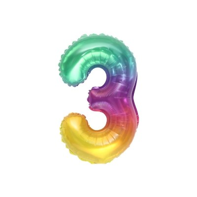 숫자은박풍선 소 레인보우 3