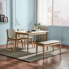 텐스페이스 뉴하임 4인용 원목식탁 벤치 의자세트 HE32R
