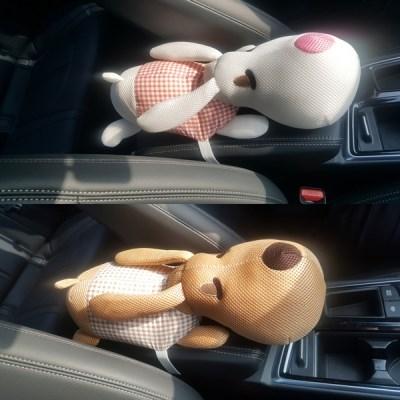 차량용 팔걸이 강아지 인형 쿠션 목베개 귀여운 디자인 차량용품