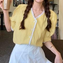 여자 여름 캔퍼스룩 데이트 레이스라인 체크 퍼프 블라우스