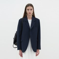 THICK ONE BUTTON JACKET_NAVY