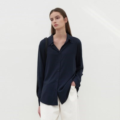 CLEAR TENCEL BLOUSE_NAVY