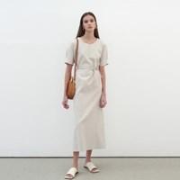 LINEN STRAP LONG DRESS_BEIGE