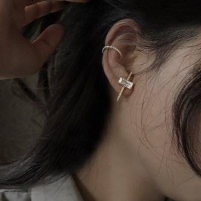 귀에 딱붙는 귓볼 큐빅 이어커프형 귀걸이 이어링 [2pcs]