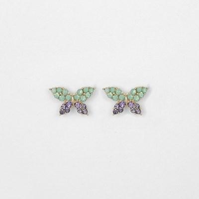 [쥬디앤폴] 다이애나 그린 쿼츠 포인트 버터플라이 귀걸이 E51881