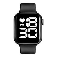 큰 화면 큰 글씨 White LED Digital Black 손목 시계