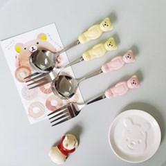 마이테디 파스텔 곰돌이 커트러리 스푼 포크 3color R