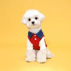 플로트 콤비피케티셔츠 강아지옷 레드