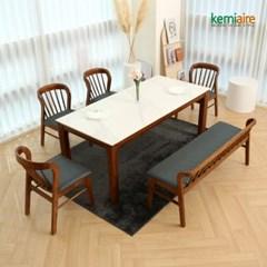 아슬로바 6인 통세라믹 원목식탁SET(벤치형) KHD-957