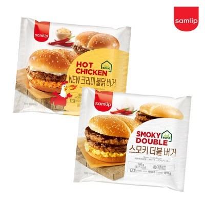 냉동 스모키더블버거 4봉+크리미불닭버거 4봉/햄버거/간_(2674227)