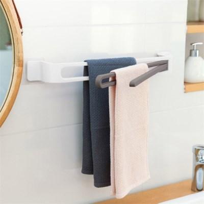 주방 욕실 회전 3단 수건걸이(화이트) /핸드타월 냄비뚜껑 거치
