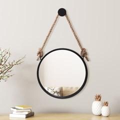 빈티지 스트랩 벽거울(40cm) (블랙) 욕실거울