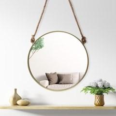 빈티지 스트랩 벽거울(60cm) (골드) 원형 걸이식거울