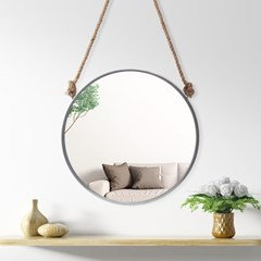 빈티지 스트랩 벽거울(60cm) (실버) 원형거울