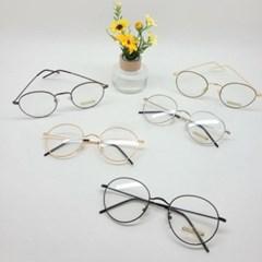 실테 둥근 블랙 실버 가벼운 도수없는 패션 안경