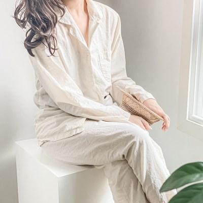 코웬 베이지 파자마 상하의 잠옷 세트