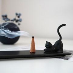 도자기 달빛 고양이 인센스 홀더(3가지 색상)