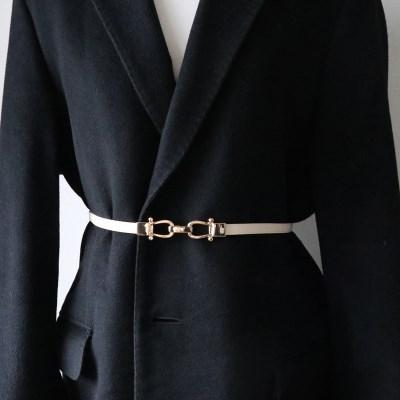 금장 후크 장식 버클 원피스 자켓 얇은 가죽 슬림 벨트 (3color)