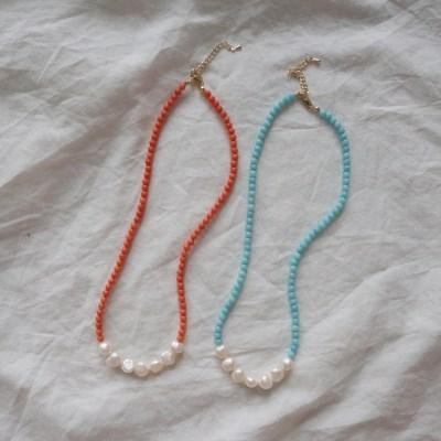 핸드메이드 담수진주 원석 구슬 비즈 목걸이 (2color)