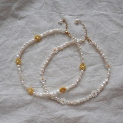 담수진주 자개 꽃 원석 짧은 목걸이 초커 (2color)