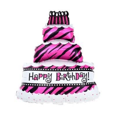 [원팩] 생일은박풍선 3단케익 지브라 핑크 쥬니어쉐입 4_(12240336)