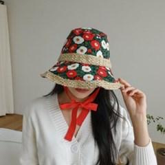 꽃무늬 턱끈 플라워 패션 보넷 버킷햇 벙거지 모자