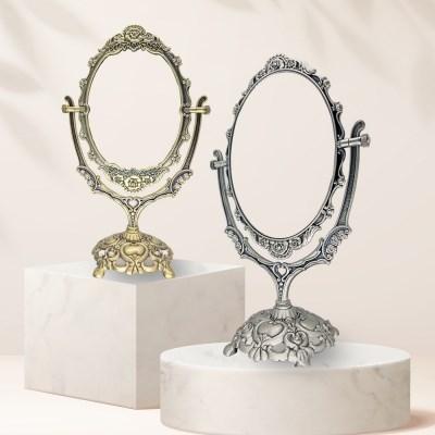 빈티지 골드 실버 회전 양면 탁상 화장대 보조 공주 거울 중형
