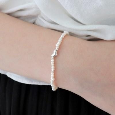 [Silver925] Fresh pearl heart bracelet_(1551975)