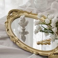 엔틱 빈티지 미러 트레이 벽걸이 거울 골드 원형