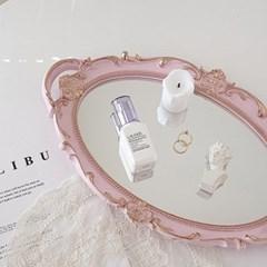 엔틱 빈티지 미러 트레이 벽걸이 거울 핑크색 원형