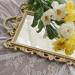 엔틱 빈티지 미러 트레이 벽걸이 거울 골드 직사각형