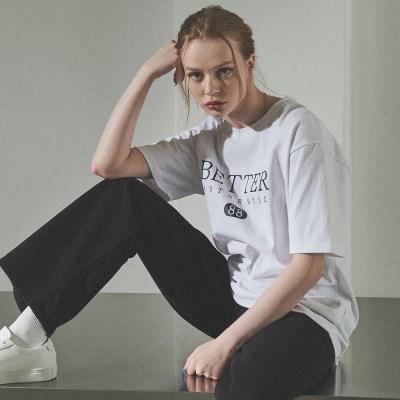 [베러댄88] W1112MW 헤리티지 로고 티셔츠 우먼 모노화이트