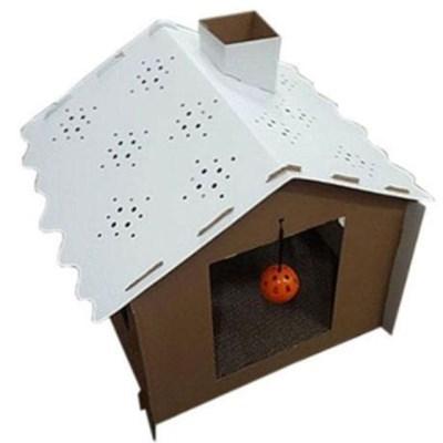 눈꽃 캣하우스 골판지 스크래처 고양이 스트레스 해소