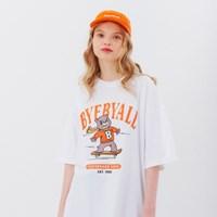 스케이트보드스쿨 오버핏 반팔티셔츠 - 화이트