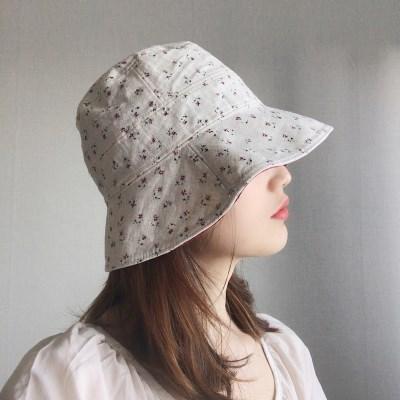 데일리 린넨 플라워 벙거지 모자 버킷햇 (2color)